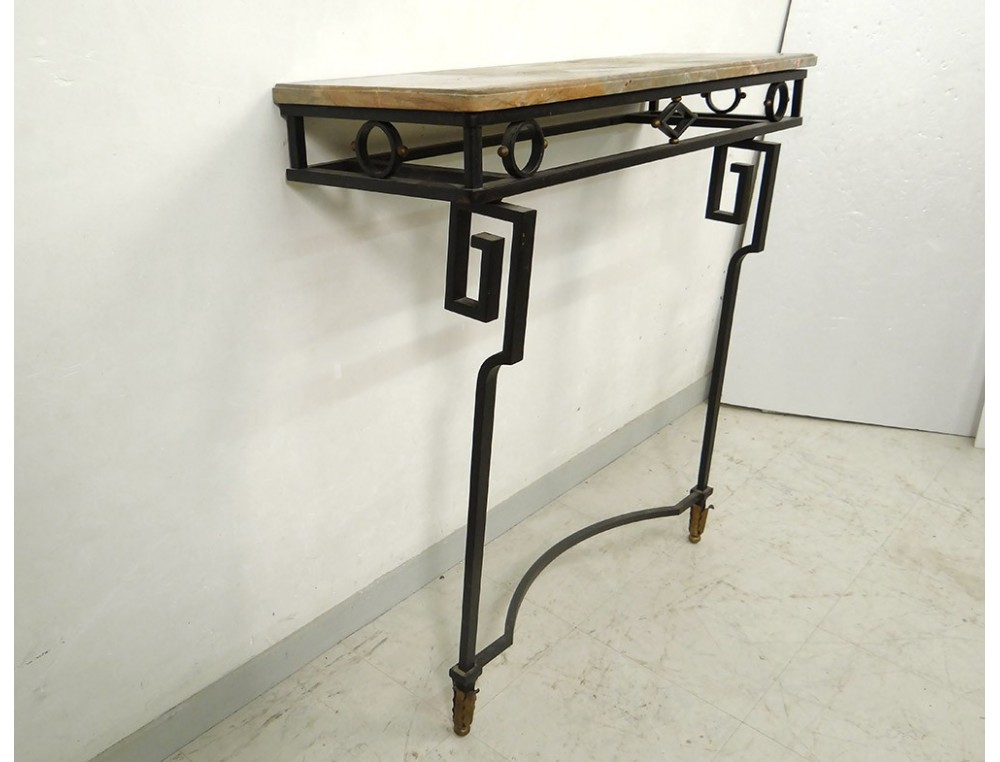 Console Art Deco wrought iron top marble geometric decoration 1940