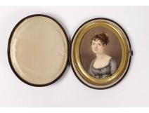 Miniature painted portrait young woman romantic Paingre case galuchat XIX
