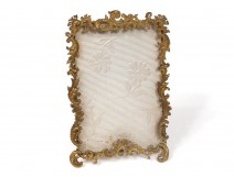 Small frame photo holder brass golden rocaille foliage frame XIXth century