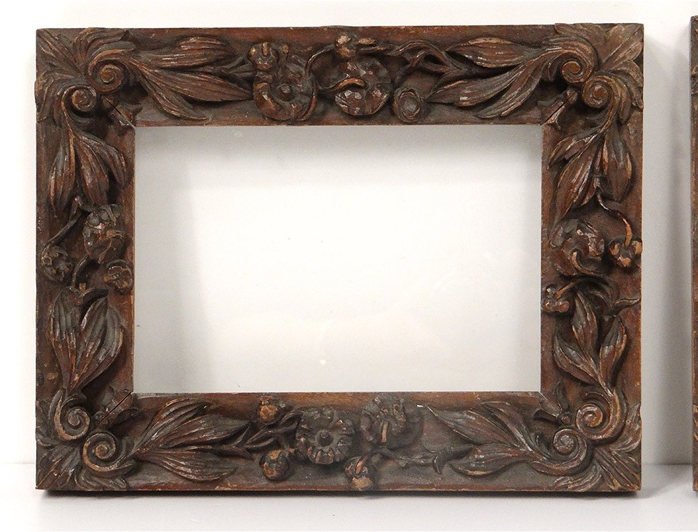 Pair Of Carved Wooden Carved Foliage Flowers Antique Frame