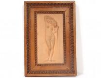Sculpture low-relief terracotta woman nude nymph Mansini wood frame XIX