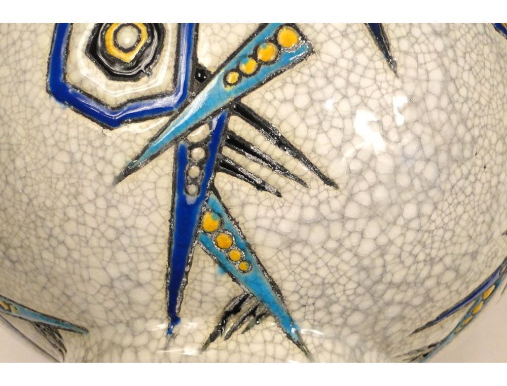 Célèbre Vase en faïence La Louvière Boch Longwy 1930 Art Déco XXe AL78