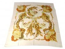 Square silk scarf Hermès Paris Tahiti birds 90cm Vintage C. Latham XXè