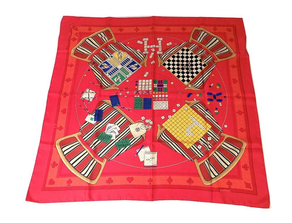 Agrandir. Précédent. Carré soie foulard Hermès Paris Faites vos jeux cartes  90cm Vintage  Carré ... bd4959ea607