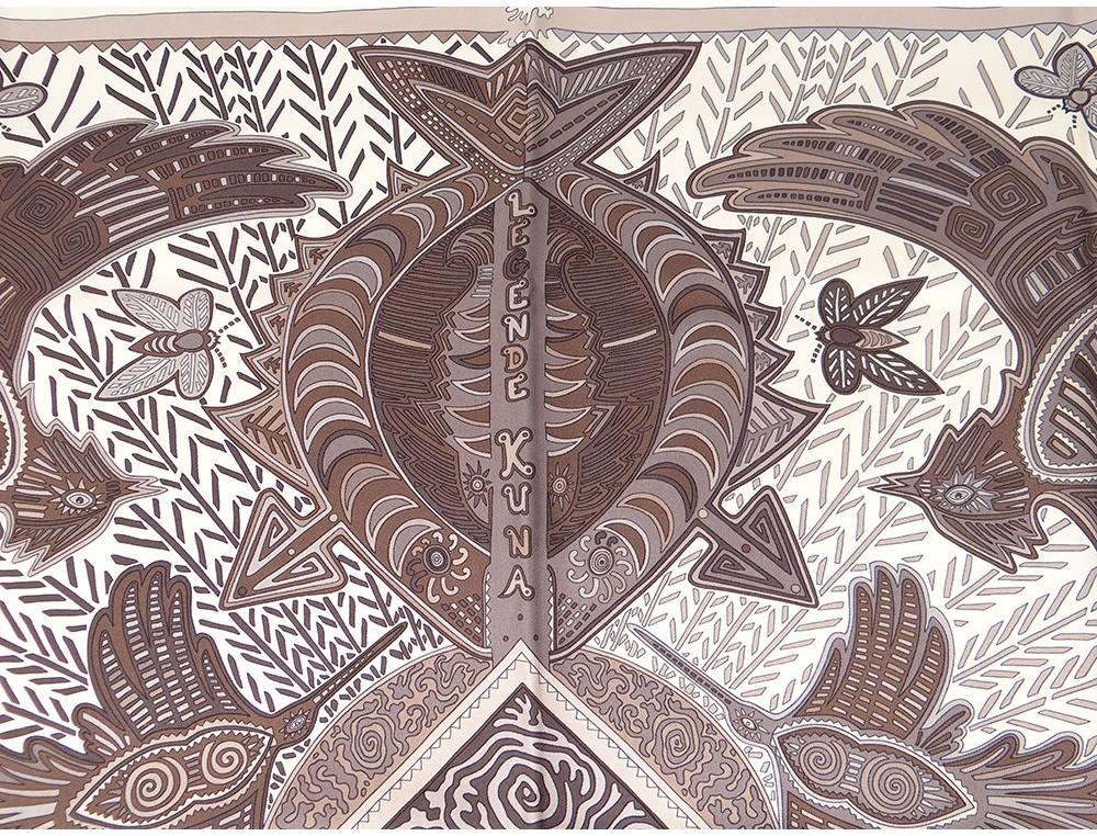 Carré soie foulard Hermès Paris Légende Kuna Peuple Panama 90cm Vintage 2e3f50f4907