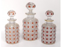 3 bottles of toilet crystal carved Baccarat XIXth century
