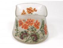 Vase glass paste enameled flowers signed J. Michel Paris 20th century