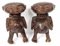 Couple statues fetish protectors Pygmy wood carved Cameroon Africa