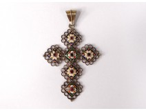 Bressane cross pendant silver vermeil enamel stone jewelry 19th century