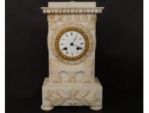 Pendulum bollard alabaster flowers foliage sun Napoleon III clock XIXth c.