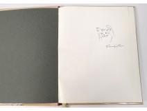 Original drawing signed Foujita Cat Small White Beds Fair Paris 1959