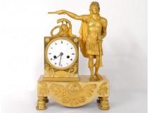 Pendulum bronze Allegory Louis XIV helmet crown sword Ier Empire XIX