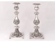 Pair of Russian silver candlesticks Minsk goldsmith Pogorzelski nineteenth century