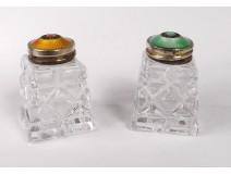 Pair of crystal salt shakers sterling silver enamel norwegian Norway twentieth