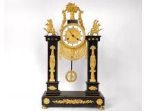 Pendulum gilt bronze gilt cariatides marble back of Egypt nineteenth Empire
