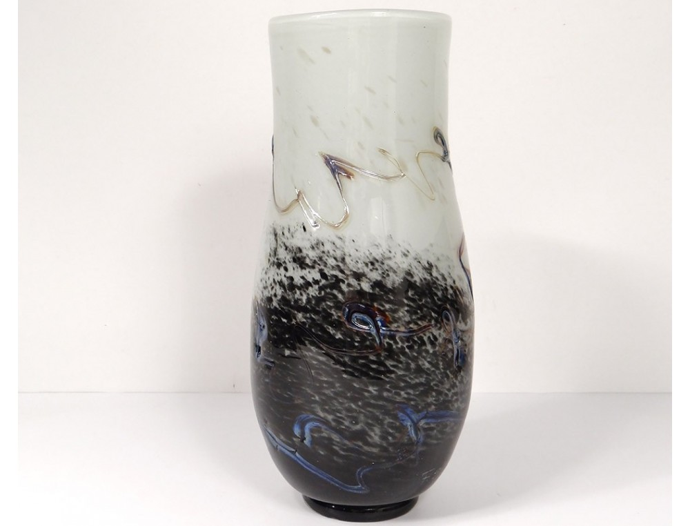 Large Glass Vase Murano Venice Italy F Silviy Italian Twentieth Century