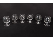 Series 6 cognac crystal glasses Daum France model Boléro twentieth century
