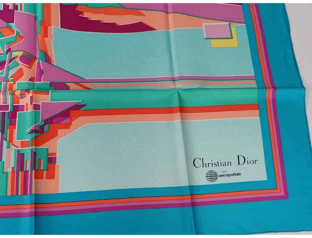 594490b60022 Foulard carré soie Christian Dior Aérospatiale vintage collection pochette