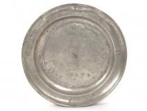 Flat round tin punch 1671 monogram seventeenth century