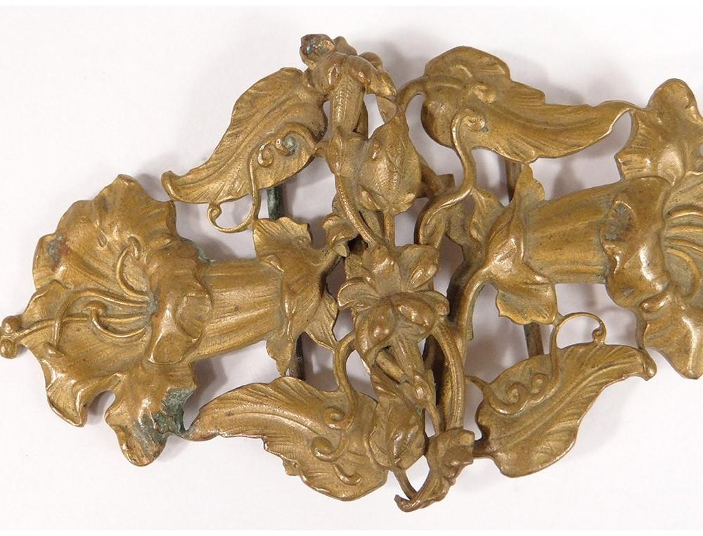 944ae08c882b Boucle de ceinture métal doré fleurs feuillage Art Nouveau buckle XIXè XXè