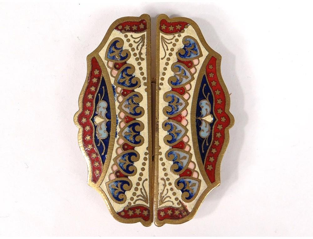 7bc48b1aedb0 Agrandir. Boucle de ceinture métal doré émail fleurs papillons Art Nouveau  ...