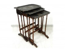 3 blackened wood nesting tables carved japanese water lily flowers nineteenth century