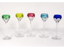 5 glasses porto crystal cut color Saint-Louis model Bristol twentieth