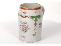 Large porcelain mug Compagnie Indes family pink bat eighteenth