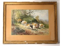 Watercolor landscape Hippolytre Gide dogs pack hunting hunt forest nineteenth