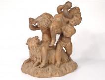 Terracotta sculpture group putti Cherub Bacchus goat Clodion nineteenth