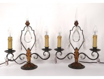 Pair of candelabra 2 lights wrought iron crystal pendants twentieth century