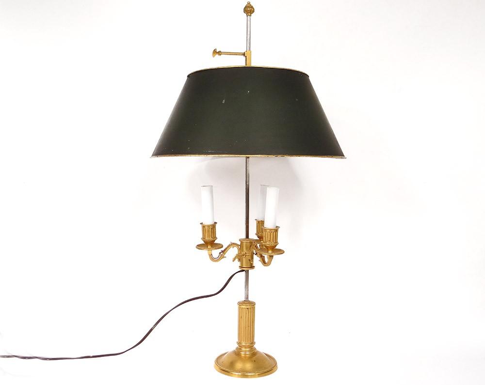 lampe bouillotte louis xvi bronze dor colonne cannel e t le xix me si cle ebay. Black Bedroom Furniture Sets. Home Design Ideas