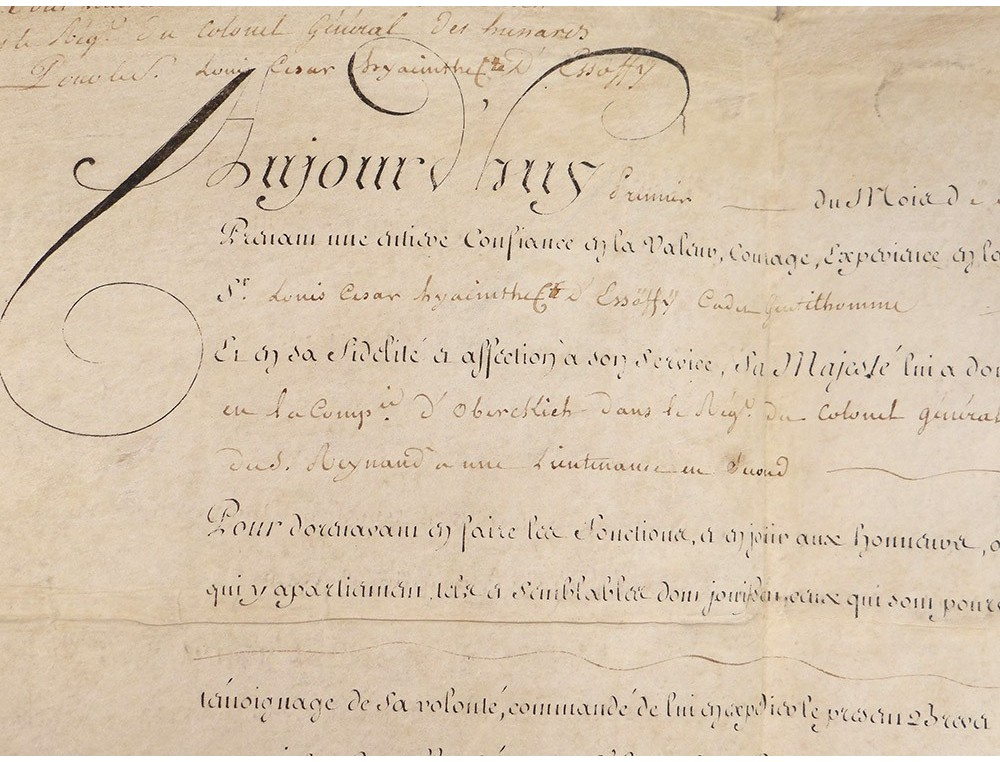 letter load sub lieutenant louis xvi 1786 dessoffy oberkirch hussard