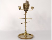 Large ring holder candle holder jewelry matches bronze gilt parrot nineteenth
