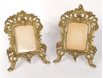 Pair of picture frames Louis XV gilded bronze rocaille foliage nineteenth