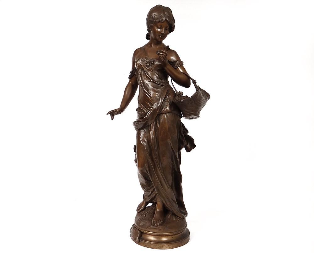 grande sculpture bronze auguste moreau rose de mai marchande fleurs xix me ebay. Black Bedroom Furniture Sets. Home Design Ideas