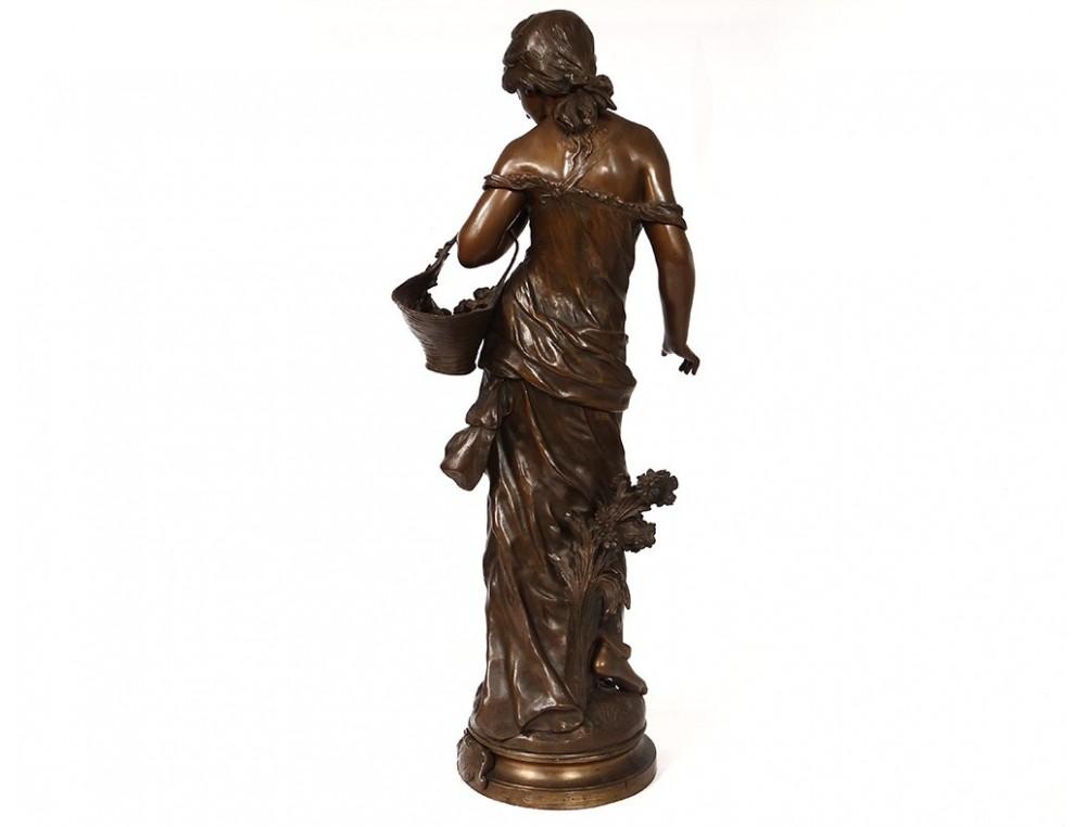 Large Bronze Sculpture Auguste Moreau Rose Of May Merchant