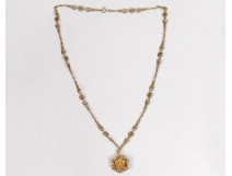 Necklace chain pendant solid gold 18 carats pearl flower 14,80gr gold twentieth