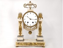 Pendulum gantry Louis XVI white marble gilt bronze cariatides clock nineteenth