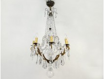 Chandelier 8 lights bronze cut crystal tassels garlands suspension nineteenth