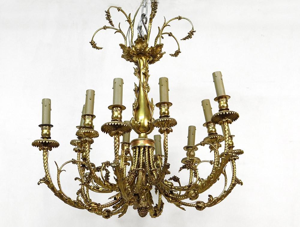 grand lustre 12 feux bronze laiton dor feuillage grappes suspension xix ebay. Black Bedroom Furniture Sets. Home Design Ideas