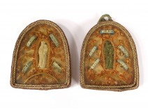 Reliquary double paperolle Saints Agnus dei Relics Modest reliquary 19th