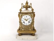 Pendulum Louis XVI gilt bronze white gold knots Napoleon III clock nineteenth
