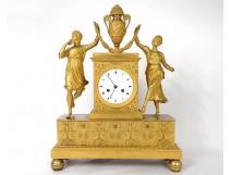 Pendulum gilded bronze Allegory Music woman musician flute Restoration 19th