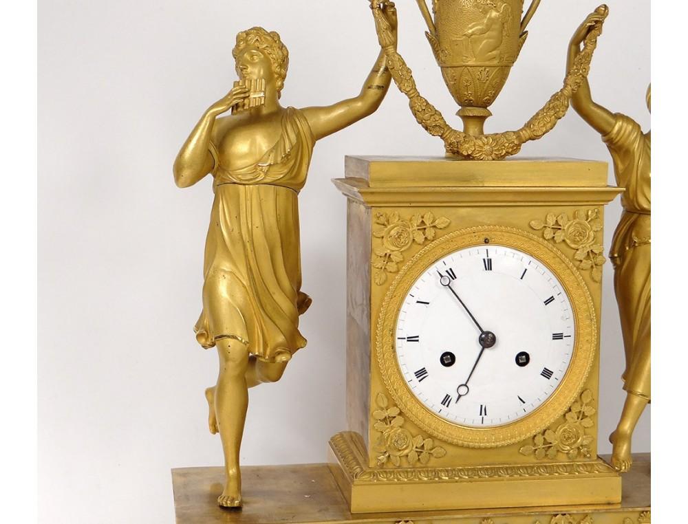 Pendulum Gilded Bronze Allegory Music Woman Musician Flute