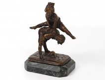 Small bronze sculpture Alfred Barye Children son leapfrog nineteenth century