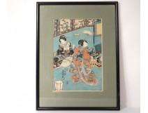 Japanese print Ukiyo-e Kunisada Utagawa Toyoshi III nineteenth samourai Oiran