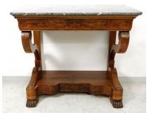 Restoration console walnut gray marble Sainte-Anne feet claws nineteenth