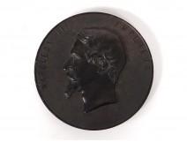 Medallion bas-relief ebonite portrait Emperor Napoleon III nineteenth sculpture