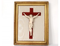 Christ crucifix ivory carved gilded wood frame nineteenth century
